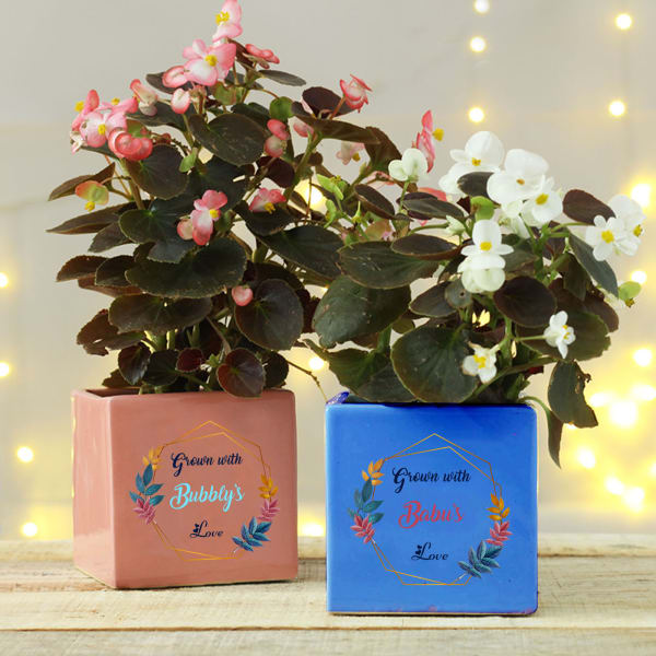 Personalized Ceramic Planters - Set of Two