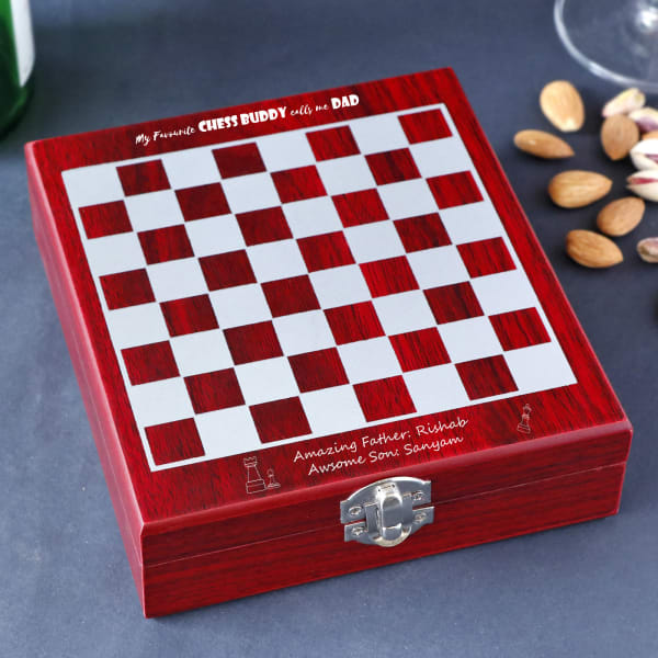 Personalized Chess Board With Wine Kit For Dad