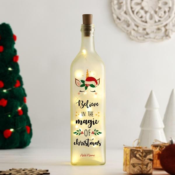 Personalized Christmas Yellow Led Bottle