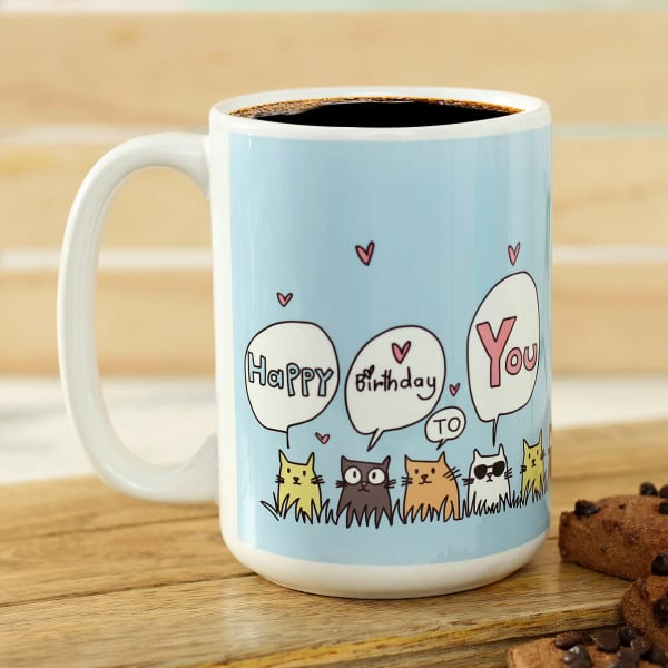 Personalized Coffee Mug With Cats Print