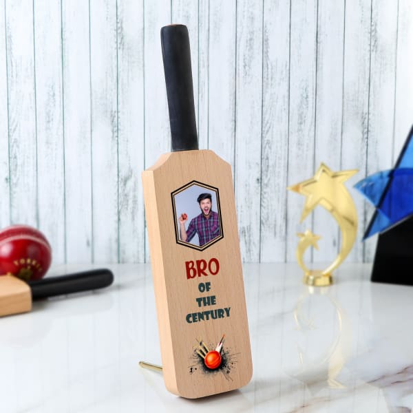 Personalized Cricket Bat Photo Stand For Brother