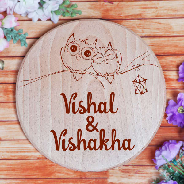 Personalized Cute Owls Wooden Name Plate