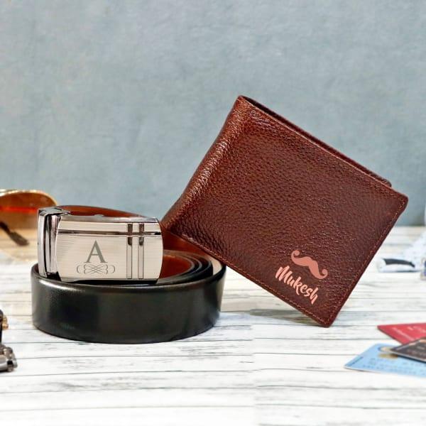 Personalized Dark Brown Wallet & Belt Combo