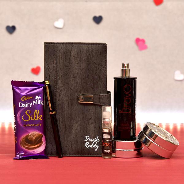 Personalized Diary & Pen Set with Perfume & Cadbury Chocolate