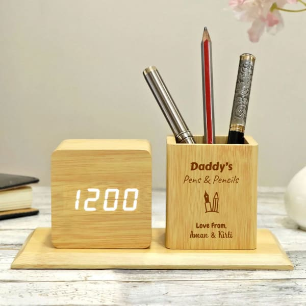 Personalized Digital Table Clock With Pen Stand