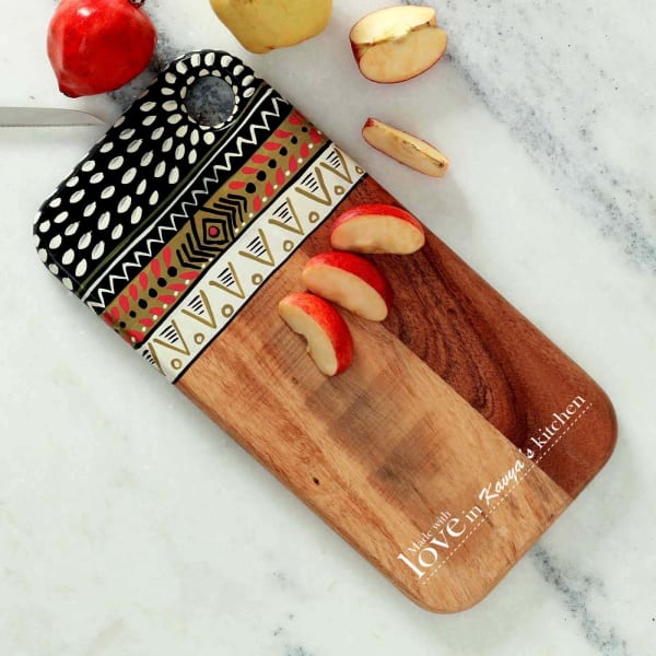 Personalized Ethnic Painted Chopping Board Cum Platter