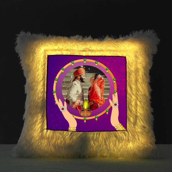 Personalized Faux Fur LED Cushion with Filler