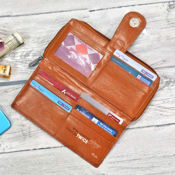 Personalized Faux Leather Money & Card Women's Wallet