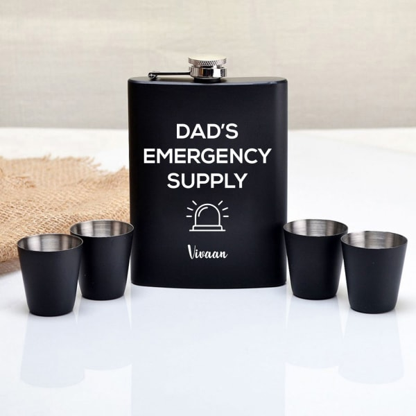 Personalized Flask And Shot Glasses Set For Dad