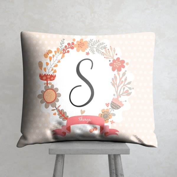 Personalized Floral Designed Satin Cushion
