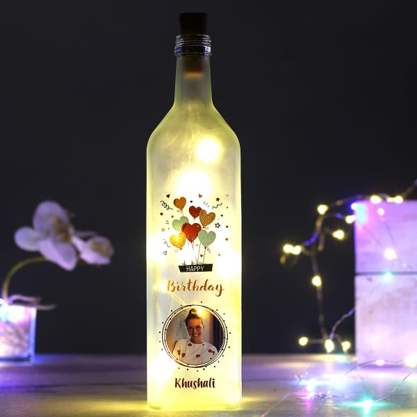Personalized Frosted LED Bottle Lamp for Birthday