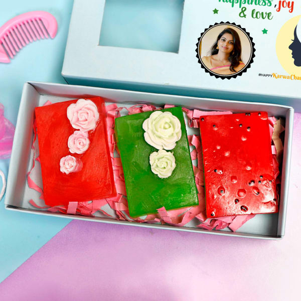 Personalized Gift Box of Fruit Soaps for Wife- Set of 3