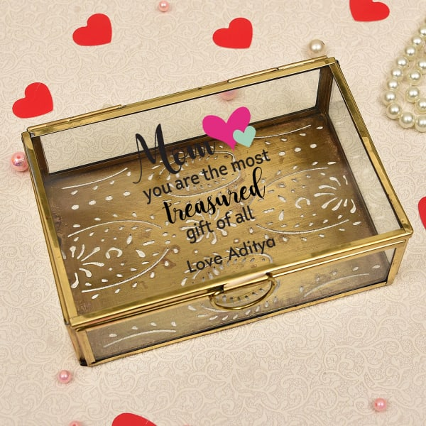 Personalized Glass Jewelry Box for Mom