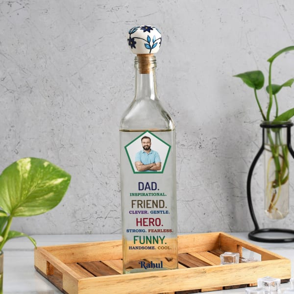 Personalized Glass Water Bottle For Dad (1000 ml)