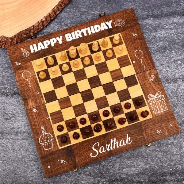 Personalized Handmade Sheesham Wood Chess for Birthday