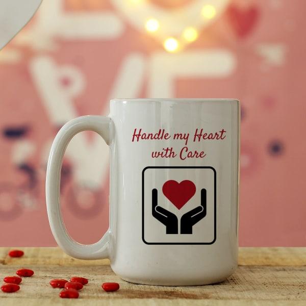 Personalized Hands Holding Heart Large Mug