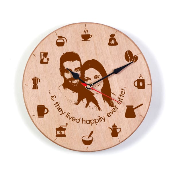 Personalized Happily Ever After Wooden Wall Clock