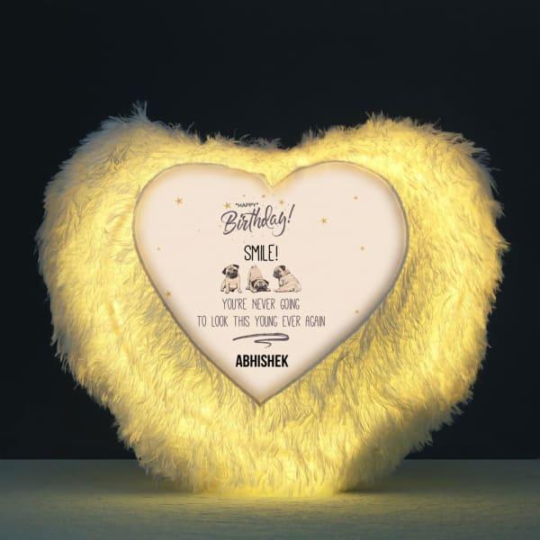 Personalized Happy Birthday Heart-Shaped LED Cushion
