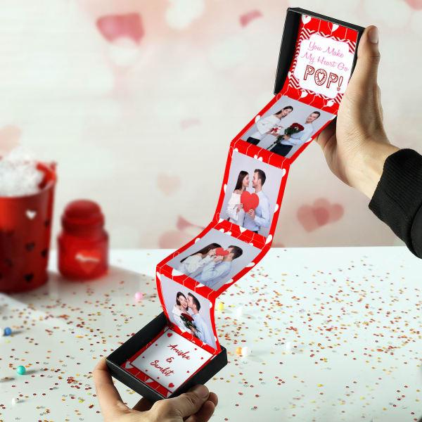 Personalized Heart Hardboard Photo Pop Box