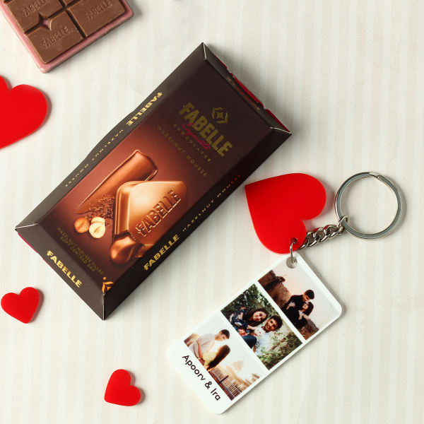 Personalized Heart Keychain with Chocolate Bar
