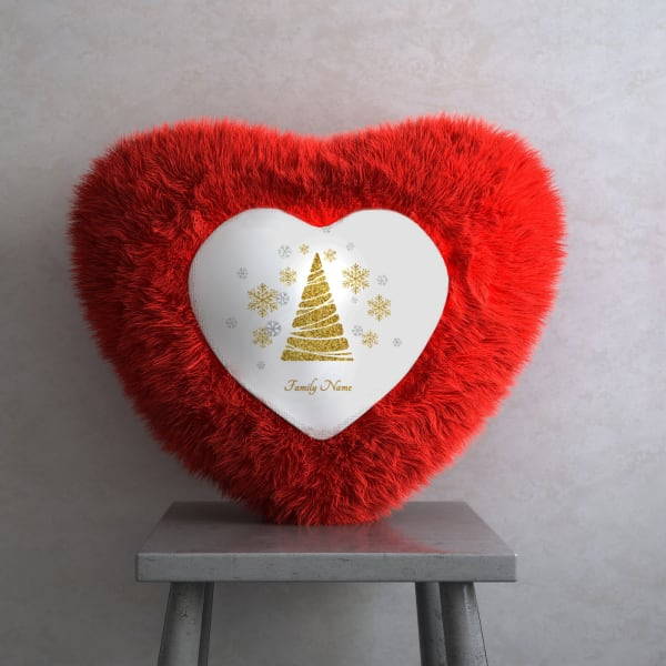 Personalized Heart Shaped Cushion for Christmas