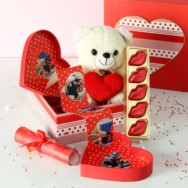 Personalized Heart Shaped Photo Popup with Chocolates Hamper