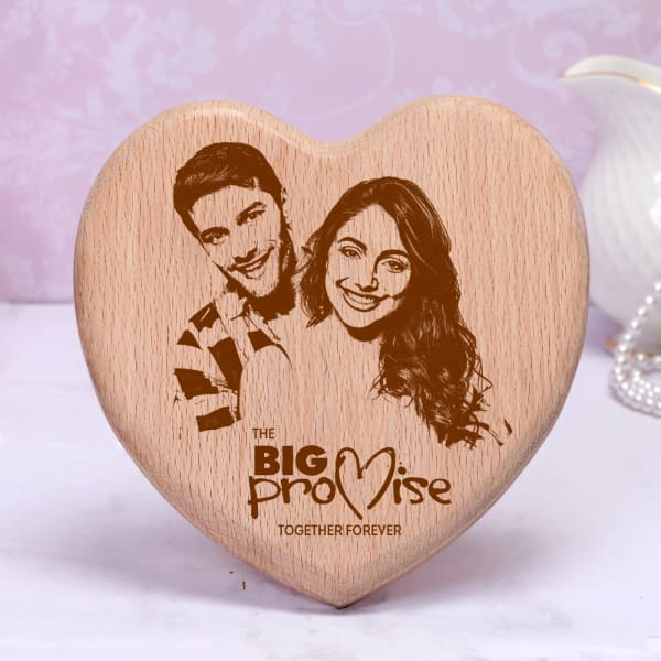 Personalized Heart-shaped Wooden Photo Frame
