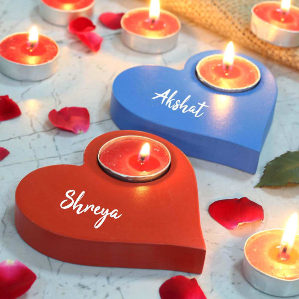 Personalized Heart Shaped Wooden Tea Light Candles