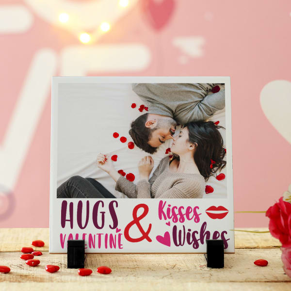 Personalized Hugs & Kisses Ceramic Tile