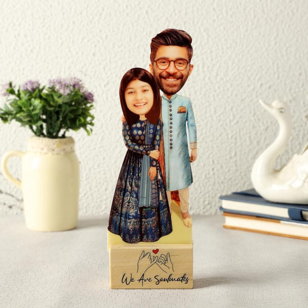 Personalized Indian Wedding Caricature with Wooden Stand
