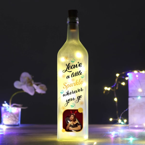 Personalized Inspirational Quote Yellow Led Bottle