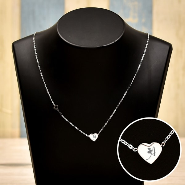 Personalized Key & Heart Necklace