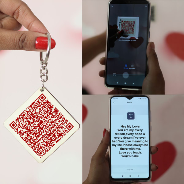 Personalized Keychain with Love Qr Code