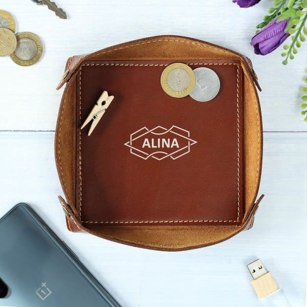 Personalized Leather Desktop Organiser