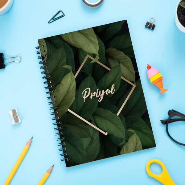 Personalized Leaves Spiral Notebook