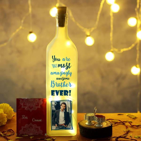 Personalized LED Bottle with Bhai Dooj Tikka