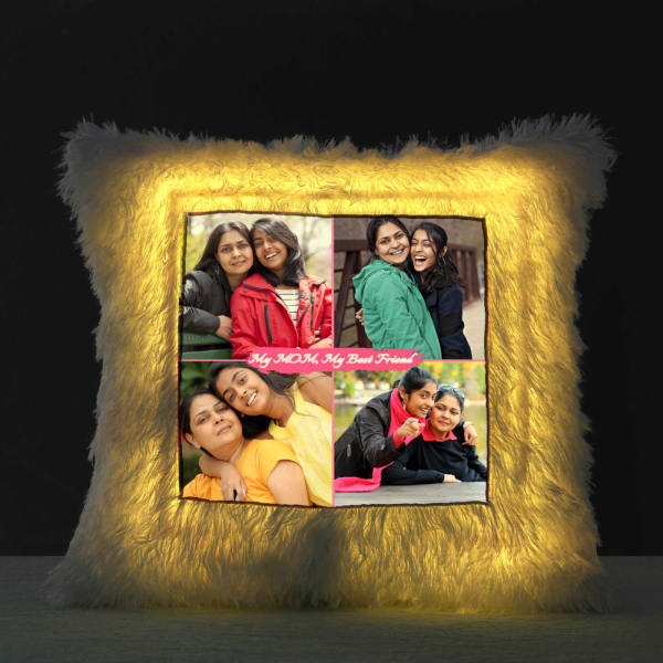 Personalized LED Fur Cushion for Mom