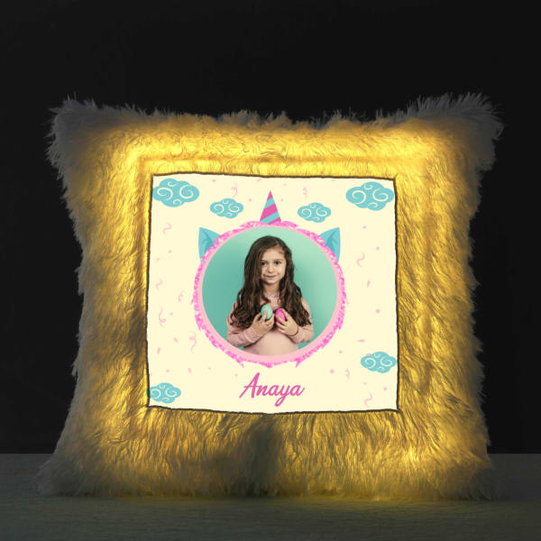 Personalized LED Fur Pillow for Kids