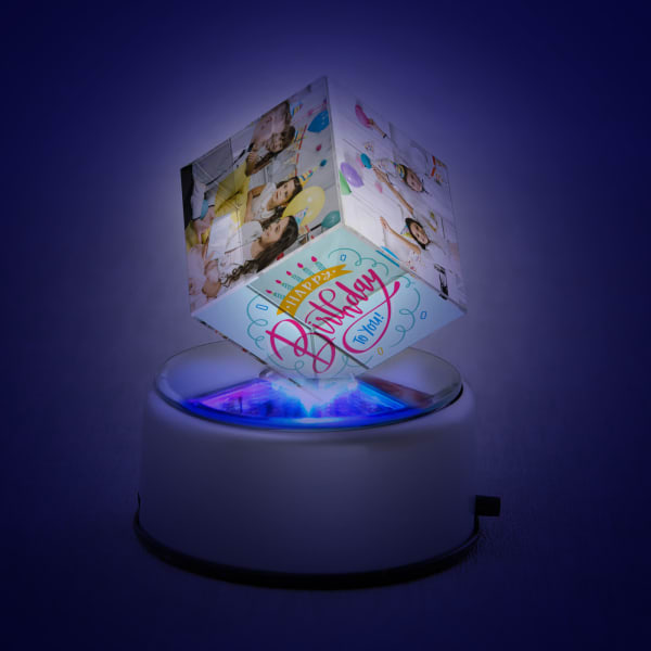 Personalized LED Rotating Crystal for Birthday