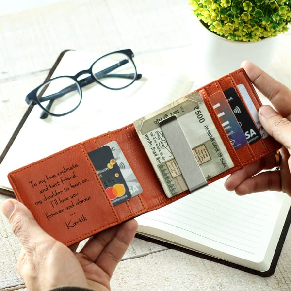 Personalized Light Brown Leather Wallet for Men