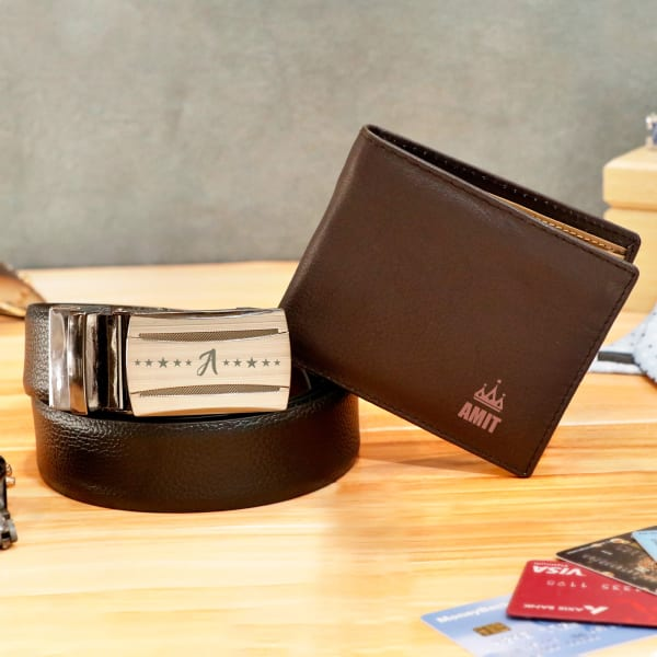 Personalized Light Brown Wallet & Belt Combo