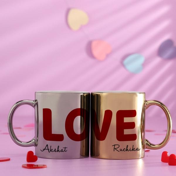 Personalized Love Golden & Silver Metallic Couple Mugs