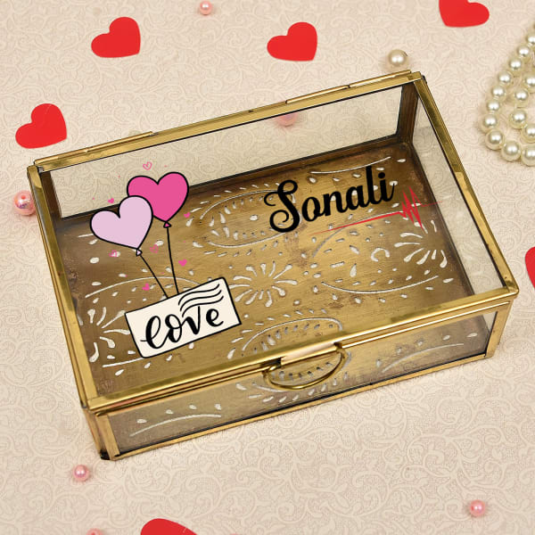 Personalized Love Special Brass Finish Square Glass Jewelry Box