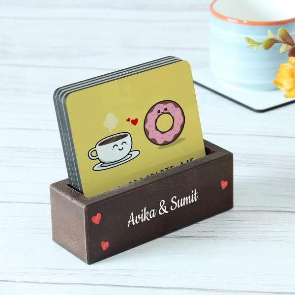 Personalized Love You Coasters With Wooden Stand