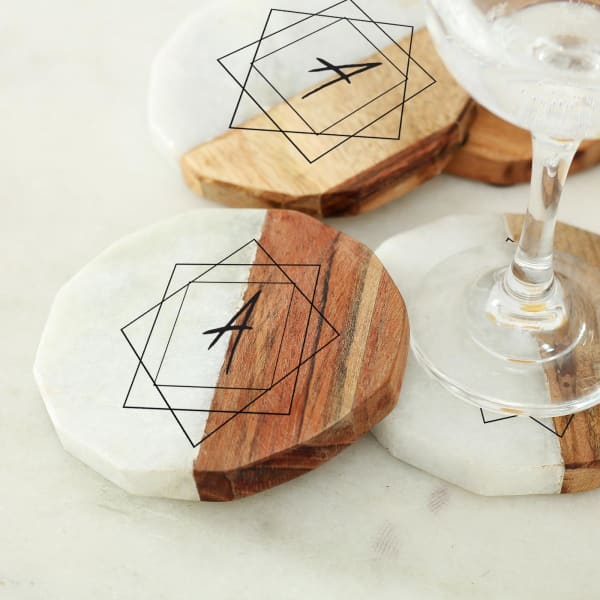 Personalized Marble & Wooden Coaster