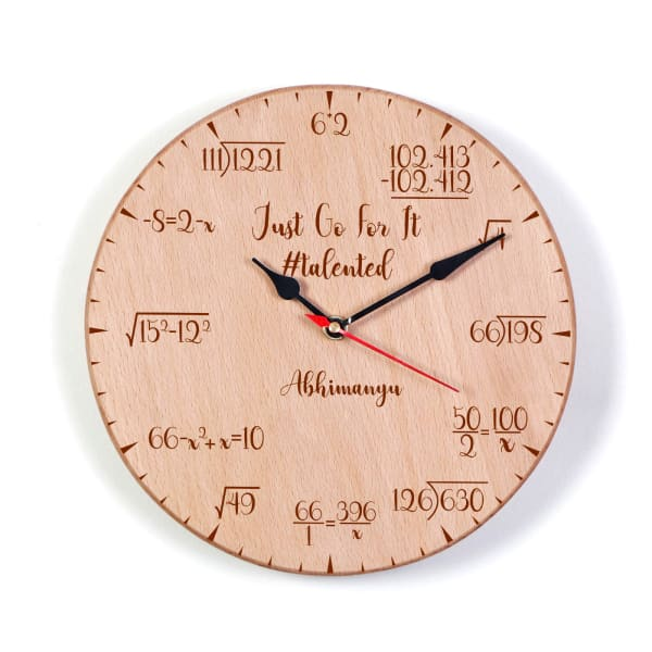 Personalized Math Lover Wooden Wall Clock
