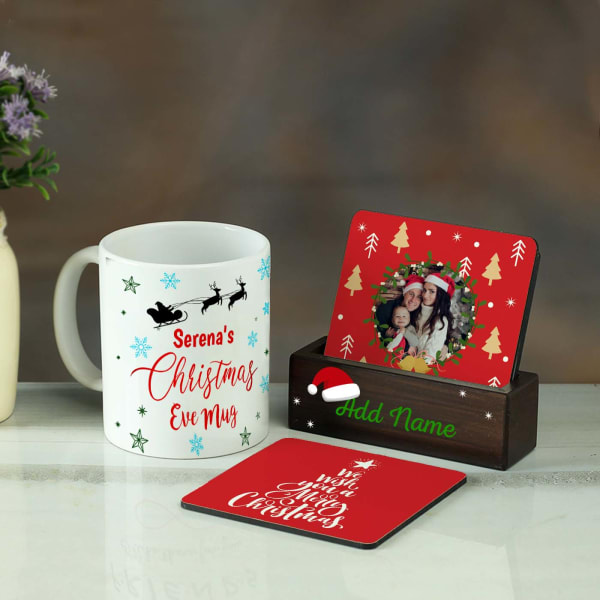Personalized Merry Coasters with Stand And Mug