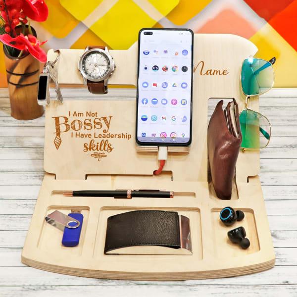 Personalized Multi-compartment Wooden Desk Organiser