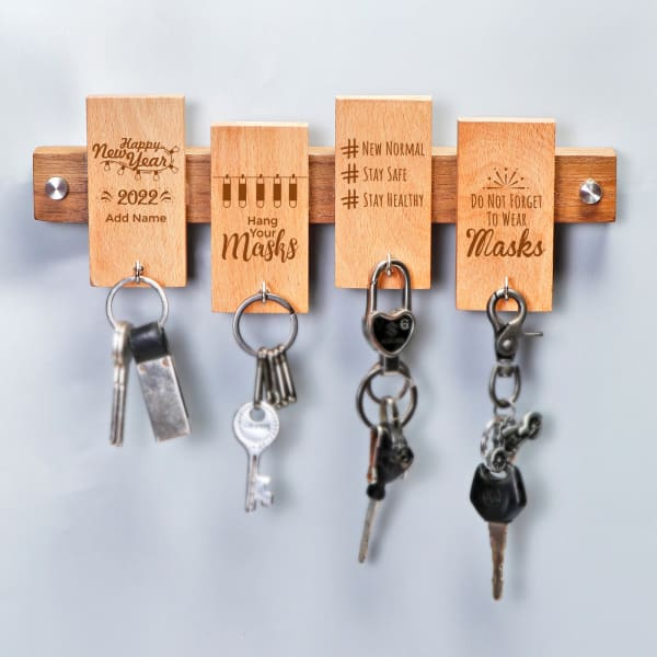 Personalized New Year Themed Wooden Key and Mask Holder