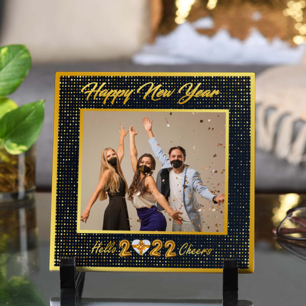 Personalized New Year Tile with Stand